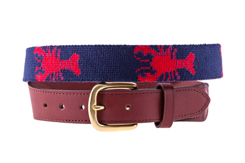 Asher Riley Lobster Needlepoint Belt