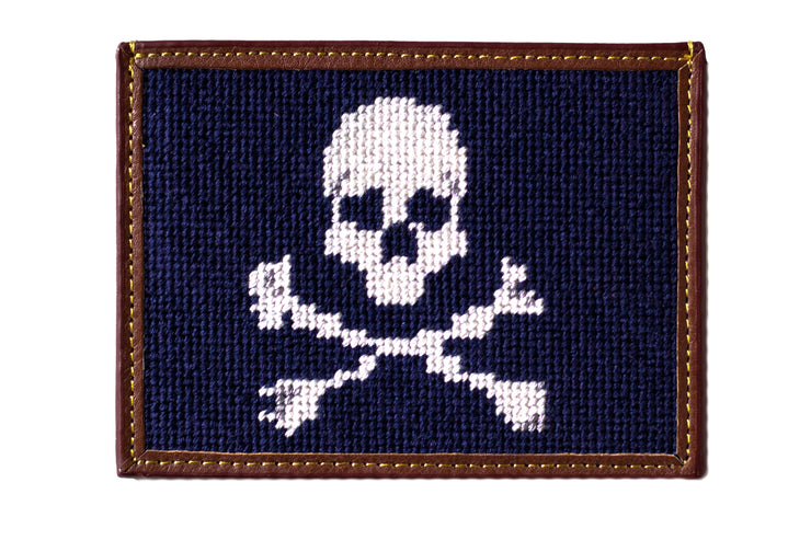 Asher Riley jolly roger needlepoint card wallet