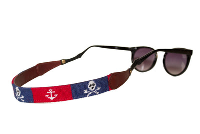 Asher Riley jolly roger and anchor needlepoint sunglass straps
