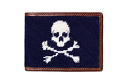 Jolly roger needlepoint wallet by Asher Riley