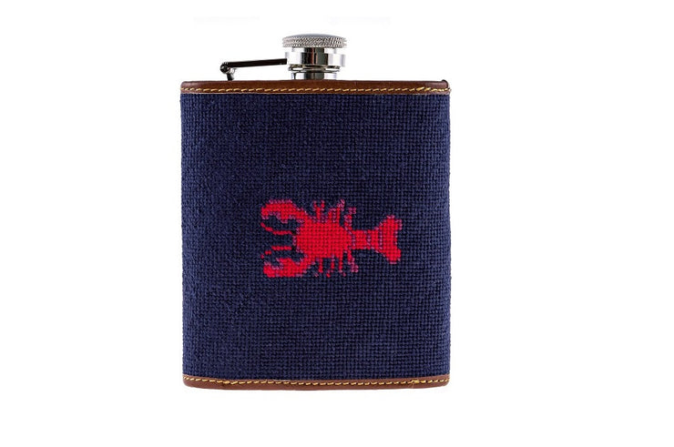 Asher Riley Lobster Needlepoint Flask