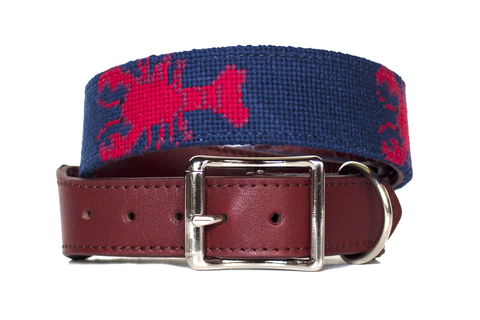 Lobster needlepoint dog collar by Asher Riley
