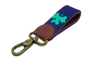 Shamrock Needlepoint key fob by Asher Riley