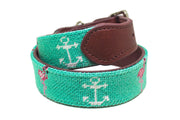 Flamingo and Anchor needlepoint dog collar by Asher Riley
