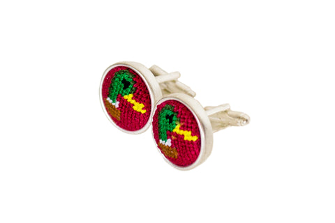 Duck Head on Red needlepoint cufflinks by Asher Riley
