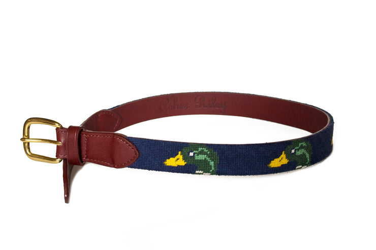 mallard children's needlepoint belt by asher riley