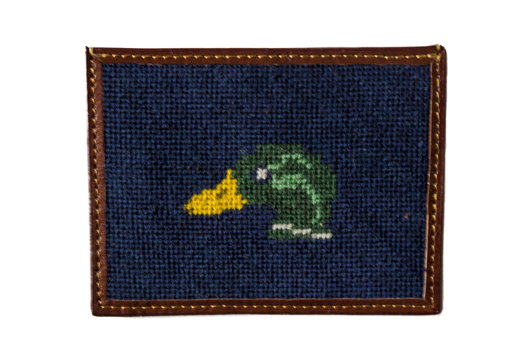 Asher Riley mallard needlepoint card wallet