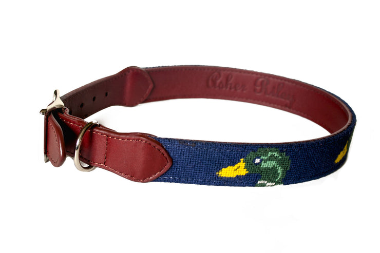 mallard navy needlepoint dog collar by asher riley