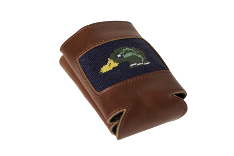 Mallard needlepoint can cooler leather koozie by Asher Riley