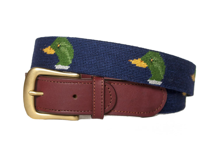 mallard navy needlepoint belt by asher riley