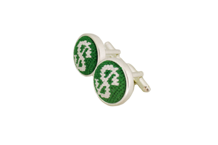 money sign needlepoint cufflinks by Asher Riley