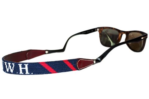 Asher Riley needlepoint monogrammed sunglass straps