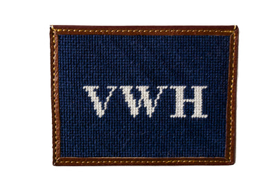 Asher Riley monogrammed needlepoint card wallet