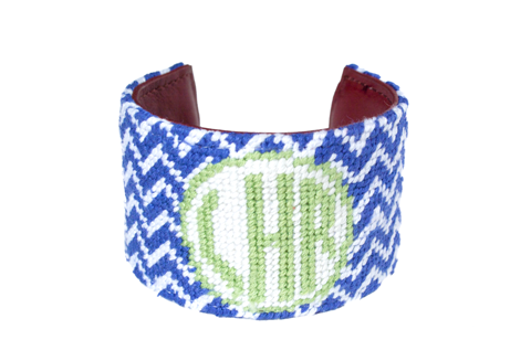 Asher Riley Monogram Needlepoint Cuff Bracelet