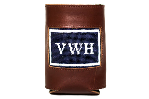 Asher Riley monogrammed needlepoint and leather koozie, can cooler