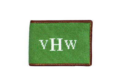 Monogram needlepoint wallet by Asher Riley