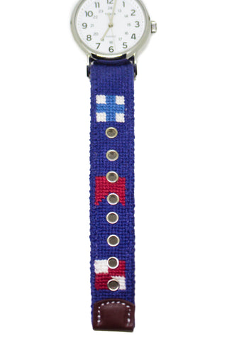 NAUTICAL FLAG NEEDLEPOINT WATCH STRAP AND TIMEX FACE