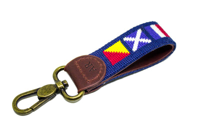 Nautical Flag Needlepoint Key Fob by Asher Riley