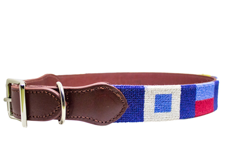 Nautical Flag needlepoint dog collar by Asher Riley