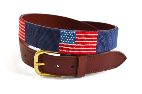 American Flag Needlepoint Children's Belt