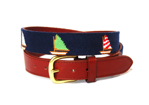 Asher Riley sailboat children's needlepoint belt