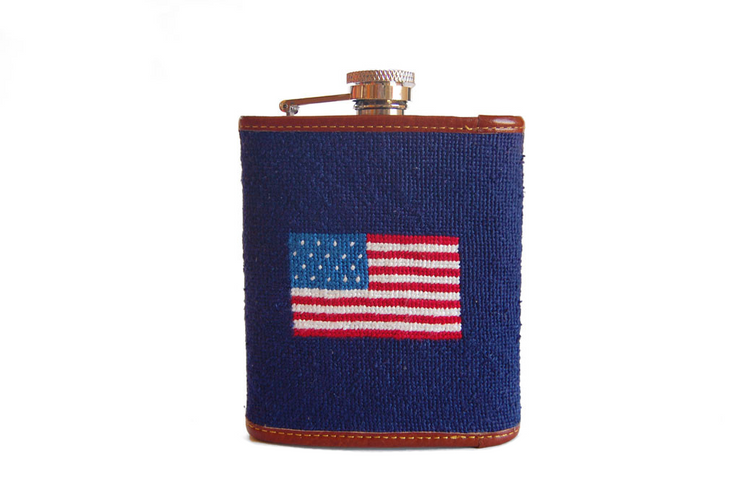 Asher Riley American Flag Needlepoint Flask
