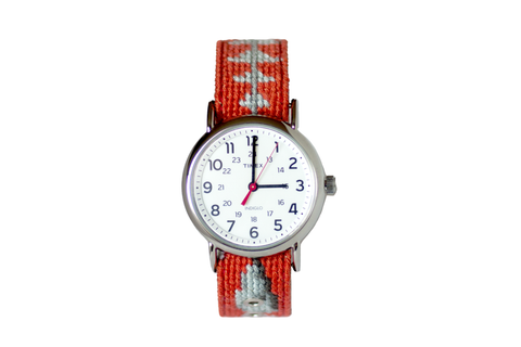 Asher Riley bonefish needlepoint watch strap and Timex Watch Face
