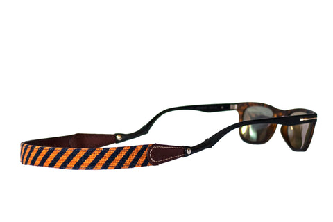Asher Riley Orange and Blue Striped Needlepoint Sunglass Strap