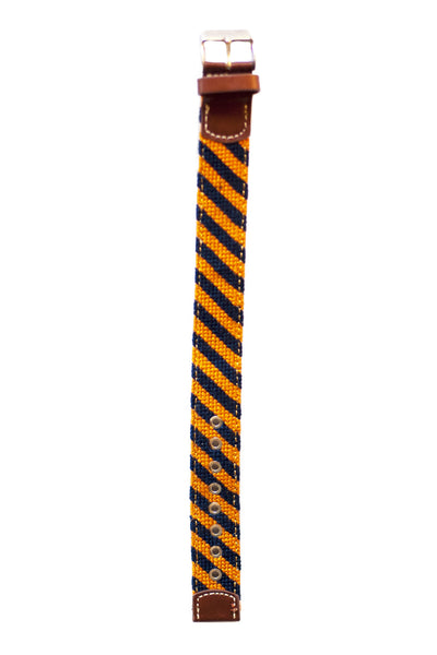 Asher Riley orange & navy stripe needlepoint watch strap