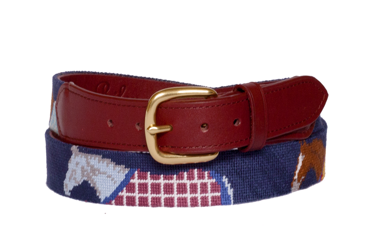 Polo Equestrian Needlepoint Belt