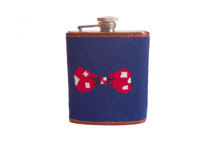 Asher Riley Bow Tie Needlepoint Flask