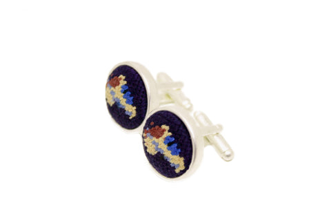 Asher Riley needlepoint racehorse cufflinks