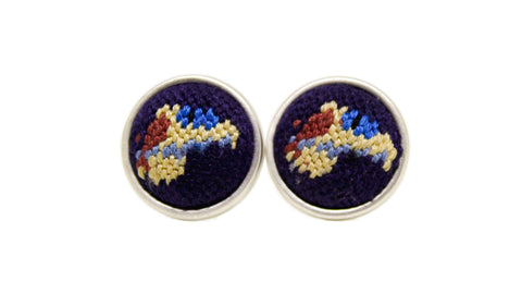 Asher Riley needlepont racehorse cufflinks