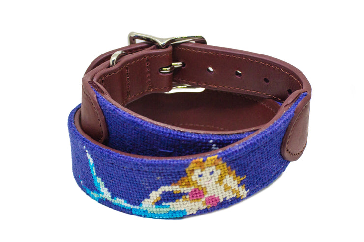 Mermaid needlepoint dog collar by Asher Riley