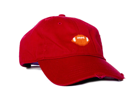FOOTBALL NEEDLEPOINT HAT RED