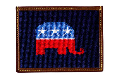 Asher Riley republican elephant needlepoint card wallet