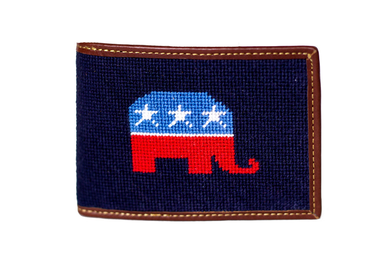 Republican Elephant needlepoint wallet by Asher Riley