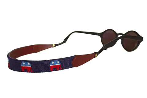 Asher Riley needlepoint Republican Elephant sunglass straps