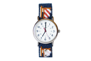 Asher Riley sailboat needlepoint watch strap and Timex watch face