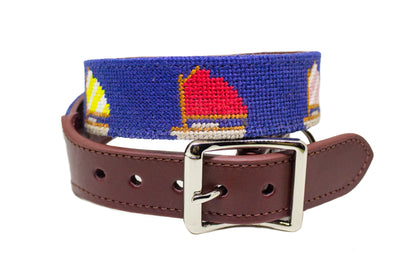Sailboat needlepoint dog collar by Asher Riley