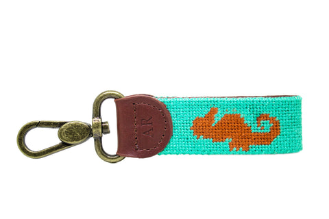 Seahorse Needlepoint Key Fob by Asher Riley