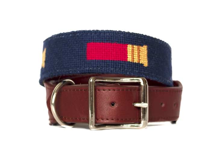 Shotgun shell needlepoint dog collar by Asher Riley