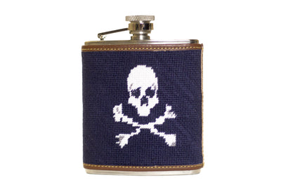 Asher Riley jolly roger needlepoint flask