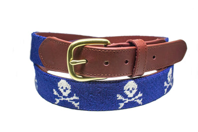 Jolly Roger needlepoint belt by Asher Riley