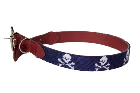 Jolly Roger needlepoint dog collar by Asher Riley