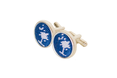 Asher Riley crescent and palm needlepoint cufflinks