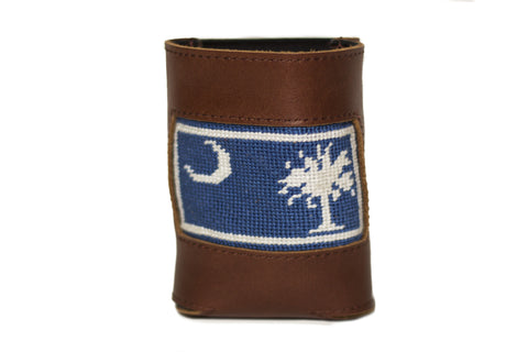 South Carolina Flag needlepoint can cooler leather koozie by Asher Riley
