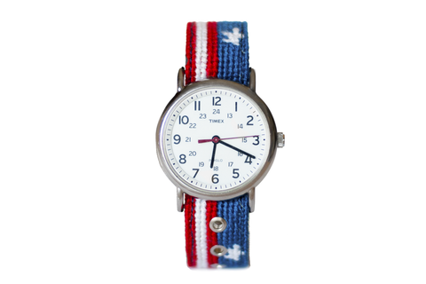 Asher Riley stars and stripes needlepoint watch strap and Timex Watch Face