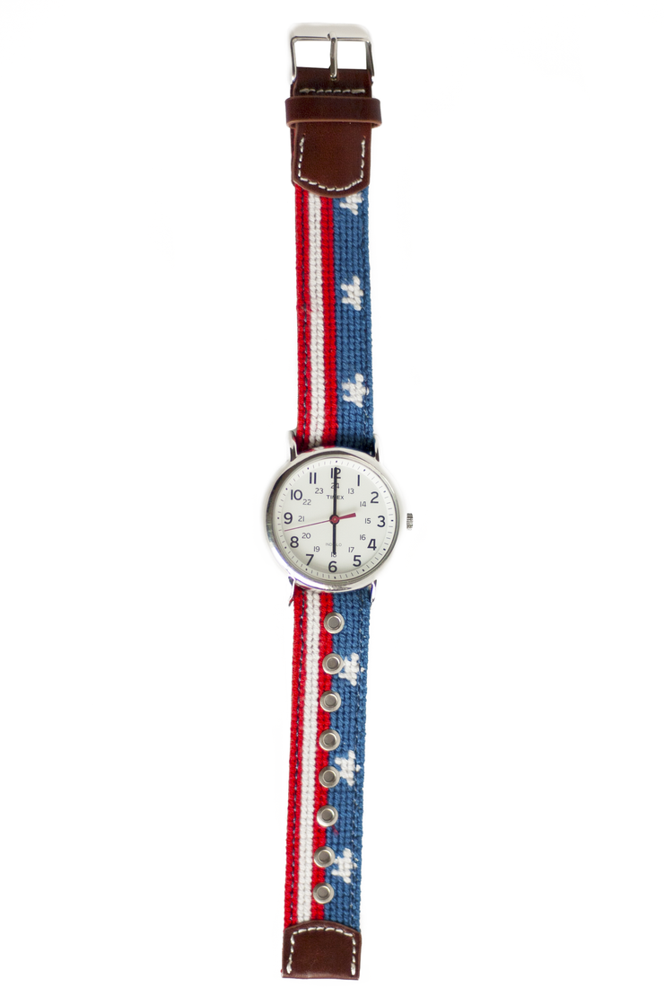 Stars & Stripes Needlepoint Watch Strap and Timex Watch Face