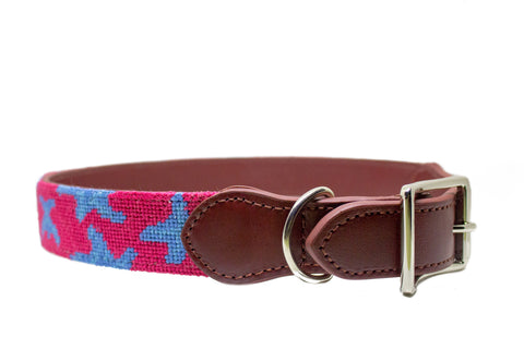 Starfish needlepoint dog collar by Asher Riley